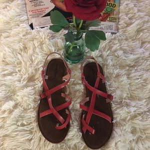 Mossimo - Red/crisscross sandals.🌹